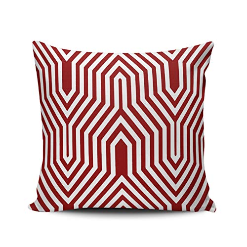 Fanaing Art Deco Geometric Dark Red and White Pillowcase Home Sofa Decorative 26X26 Inch European Throw Pillow Case Decor Cushion Covers Double Sided ()
