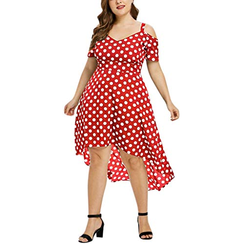 AgrinTol Women Plus Size Casual Short Sleeve Dress Cold Shoulder Boho Dot Long Dress (2XL, Red)