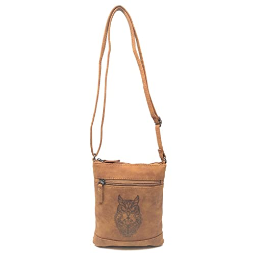55e580f2ddd Amazon.com  Small Faux Leather Owl Crossbody Bag, Long Strap Distressed Messenger  Side Purse (Brown)  Clothing