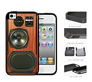 Retro Brown Wood Speakerbox 2-Piece Dual Layer High Impact Rubber Silicone Cell Phone Case Apple iPhone 4 4s