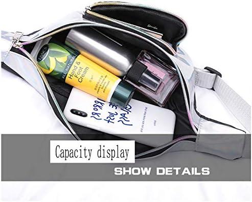 Silver Holographic Fanny Pack Hologram Waist Bag Fashion Waist Packs with Adjustable Belt