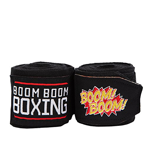 BOOM BOOM Boxing Boxing Flex Youth Hand Wraps, Black, 120