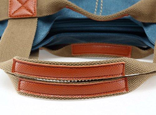 Panegy Damen Frauen Casual Tasche Mode Canvas Schultertasche Fashion Large Kapazität Handtasche Für Freizeit Outdoor und Sport - Khaki Blau