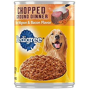 PEDIGREE Chopped Ground Dinner Filet Mignon & Bacon Flavor Wet Dog Food 13.2 Ounces (Pack of 12)
