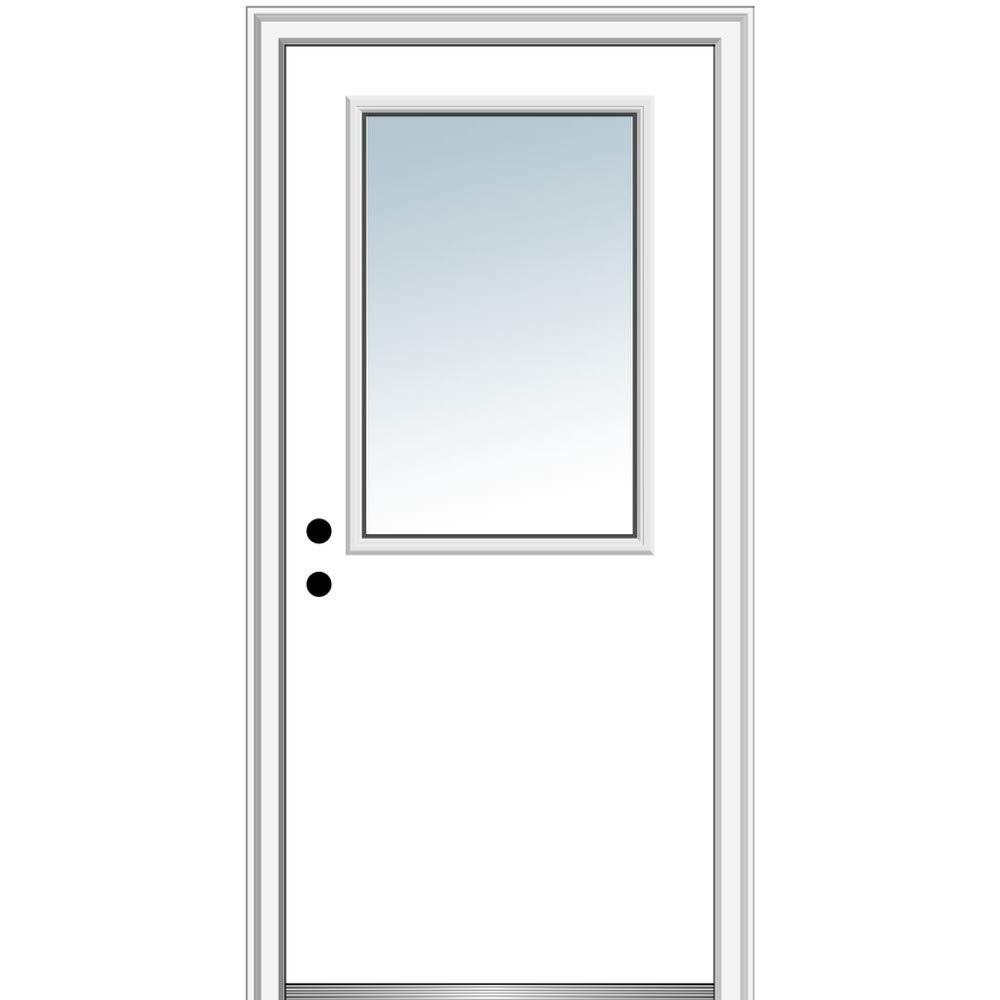 National Door Company ZZ00778R Steel Primed, Right Hand in-Swing, Prehung Front Door, 1/2 Lite Flush, Clear Glass, 36