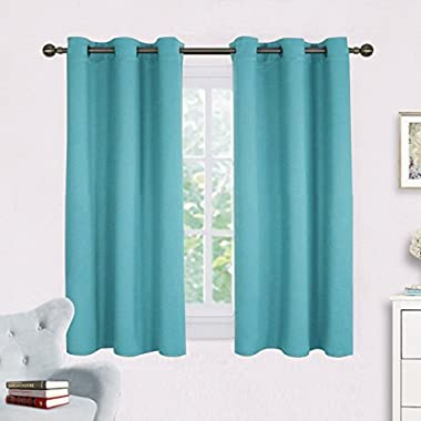 Thermal Insulated Curtains Blackout Draperies - NICETOWN Window Treatment Solid Grommet Room Darkening Drape Panels for Bedroom (Set of 2 Panels,42 by 45 Inch Long ,Turquoise Blue)