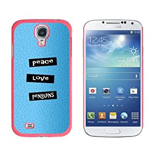 Peace Love Penguins - Snap On Hard Protective Case for Samsung Galaxy S4 - Pink