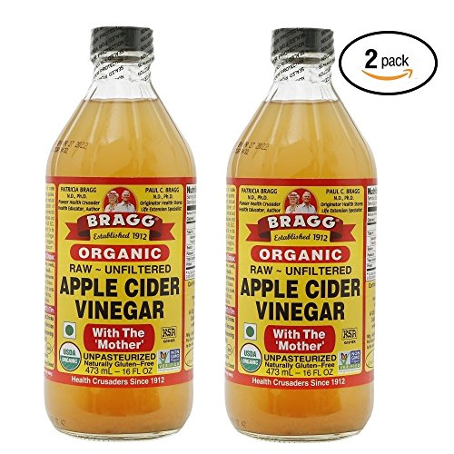 Cider Bragg Vinegar With Apple Mother (Bragg USDA Organic Raw Apple Cider Vinegar, With The Mother 16 Ounces Natural Cleanser, Promotes Weight Loss - Pack of 2)