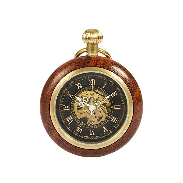 ManChDa Steampunk Mechanical Hand Wind Skeleton Pocket Watch Roman Copper Wooden with Chain Gift Box 3