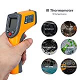 TOP-MAX Digital IR Infrared Thermometer Handheld Kitchen Temperature Gun Testers With Laser Targeting Point LCD Display Screen Celsius Fahrenheit Unit Yellow Black -50-360¡ãC