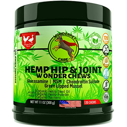 WonderPet-Care-Hemp-Hip-Joint-Supplement-for-Dogs-Chondroitin-Glucosamine-MSM-Hemp-Turmeric-Extra-Strength-Formula-for-Arthritis-Pain-Relief-Mobility-120-Soft-Chews-Packaging-May-Vary
