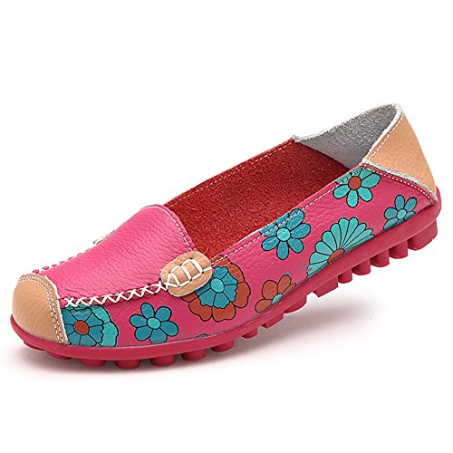 STAINLIZARD Women's Casual Slip-On Flats Moccasins Driving Leather Loafer Shoes Rose Red 8 by STAINLIZARD