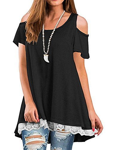 Off The Shoulder Peasant Top - Angielucky Women's Short Sleeve Cold Shoulder Summer Lace Tunic Tops T-Shirts Blouses (Small, Black)