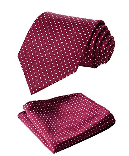 HISDERN Dot Floral Wedding Tie Handkerchief Woven Classic Men's Necktie & Pocket Square Set Burgundy & White