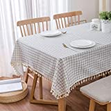 MoMA Checkered Table Cloth (55'x70') - Cotton Linen Table Cloths for Kitchen - White Fabric Tablecloth - Modern Decorative Dining Table Cover - Outdoor Patio Table Cover - Rectangle Tablecloth