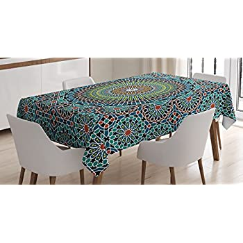 Geometric Decor Tablecloth by Ambesonne, Traditional Middle Eastern Moroccan Arabesque Culture Artful Design, Dining Room Kitchen Rectangular Table Cover, 60W X 90L Inches, Slate Blue Ruby