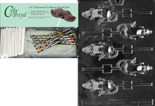 Cybrtrayd 45StK50H-H060 Rat Lolly Halloween Chocolate Mold with Lollipop Supply Kit