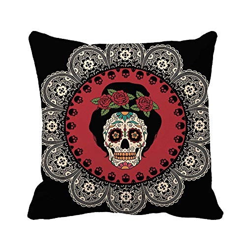 Awowee Throw Pillow Cover Yellow Day Mexican Skull Girl Dead Tattoo Catrina Sugar 16x16 Inches Pillowcase Home Decorative Square Pillow Case Cushion Cover