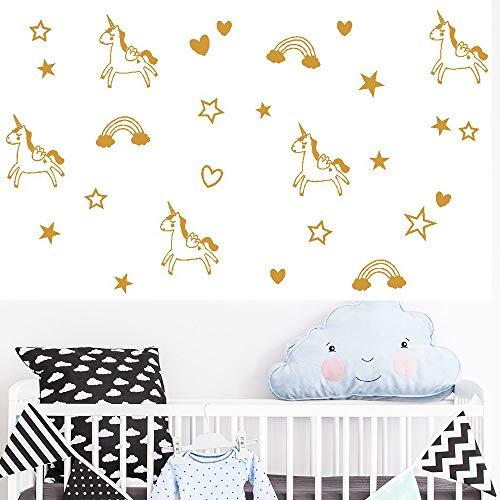 Melissalove 98pcs Unicorn Rainbow Star Heart Wall Decal,Removable Vinyl Wall Stickers for Baby Kids Boys Girls Bedroom Nursery Decor A1012 (Gold)