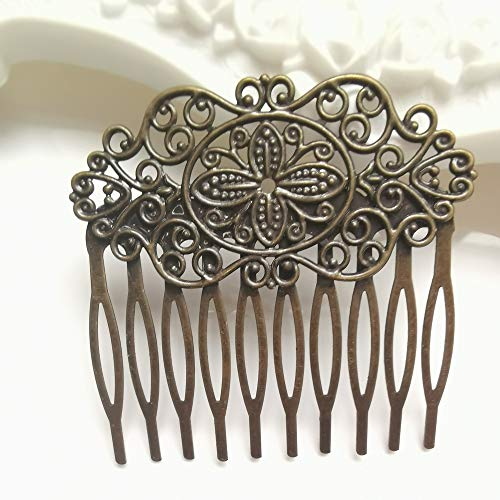 Aegenacess 10pcs Hair Side Comb Filigree Floral Brass Blank Hair Barrette Clips DIY Accessories Base Setting (Bronze)