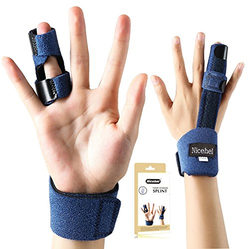 Finger Extension Splint for Trigger Finger, Mallet Finger, Finger Knuckle Immobilization, Finger Fractures, Wounds, Post-operative Care and Pain Relief- Malleable Metallic hand splint finger support by Nicehel