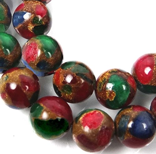 Loose Beads 10mm Ruby Sapphire Emerald in Quartz with Pyrite Round Beads (19) Jewellery Maker Crafts