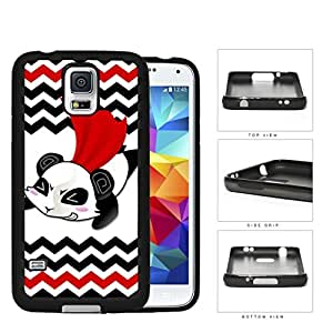 Flying Superhero Panda Cartoon With Chevron Design Rubber Silicone TPU Cell Phone Case Samsung Galaxy S5 SM-G900