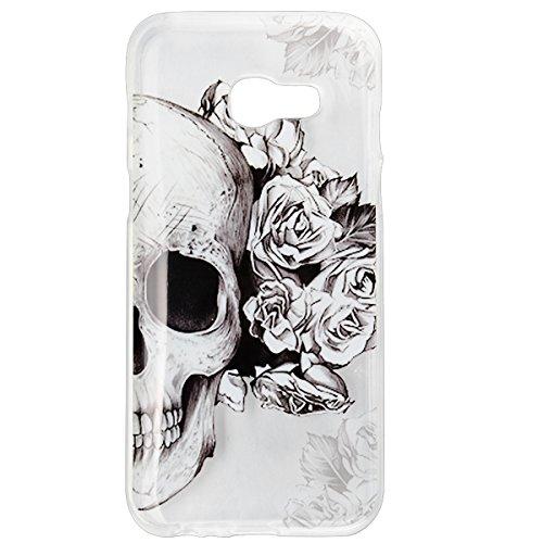 Funda Samsung A3 2017 Transparente Diseño Flor de Durazno , We Love Case Suave Funda Protectora de Silicona TPU Flexible Case Bumper Ultra Delgado Gel Carcasa para Samsung Galaxy A3 2017 Cráneo