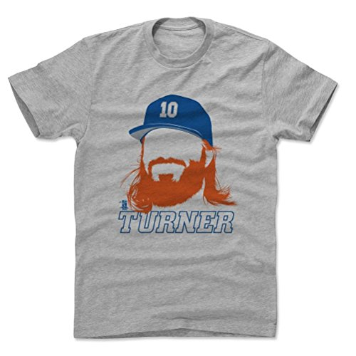 500 LEVEL's Justin Turner Cotton Shirt Medium Heather Gray - Los Angeles Baseball Fan Apparel - Justin Turner Silhouette B