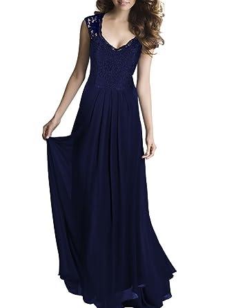 f1317e5550ef HanLuckyStars Vestido Largo Elegante de Gasa Encaje V-cuello sin Mangas  para Mujer (Negro,Azul)