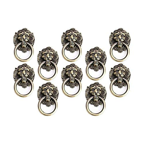 Lheng Antique Bronze Cartoon Lion Head Knobs Cabinet Handles Door Hardware Handles Cupboard Closet Drawer Pulls 10Pcs