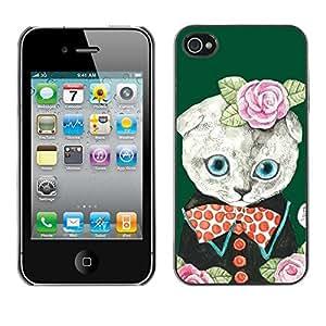 Cubierta de la caja de protección la piel dura para el Apple iPhone 4 / 4S - roses green cute bowtie