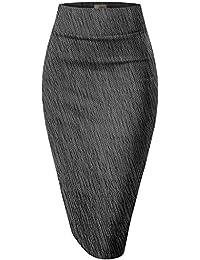 H&C Women's Elastic Waist Stretchy Office Pencil Skirt...