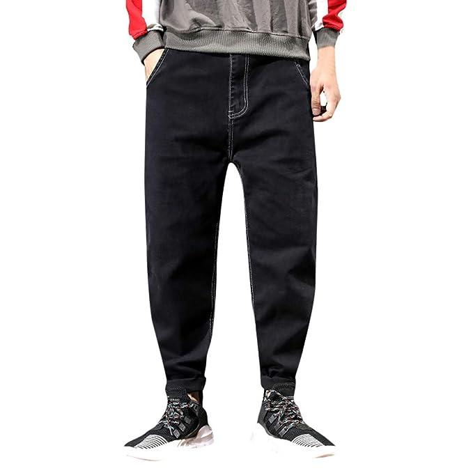 beautyjourney Pantalones Vaqueros Sueltos de los Hombres ...