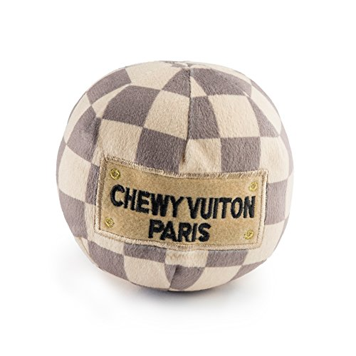Haute Diggity Dog HDD-007-LG Checker Chewy Vuitton Ball, Large