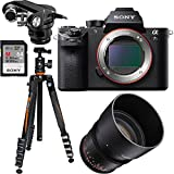 Sony a7S II Full-frame Mirrorless Camera Body w/ Rokinon 85mm Lens Pro 4K Cine Bundle Includes, Tascam X-Y Plug-in Microphone for DSLR + Sony 64GB UHS-II Class 10 SD Card + Vanguard Travel Tripod