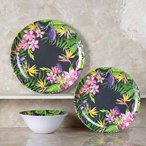 Melamine Dinnerware Set - 12pcs Dishes Dinnerware Set for 4, Dishwasher Safe, Flower Pattern