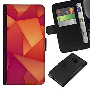 Planetar® Modelo colorido cuero carpeta tirón caso cubierta piel Holster Funda protección Para HTC One M9 ( Patrón Polígono Wallpaper Naranja Púrpura )