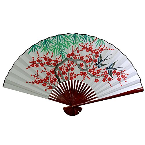 Oriental Furniture White Cherry Blossom Fan - 12