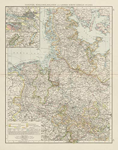 Map Of Germany 1900.Amazon Com Northern Germany Schleswig Holstein Hamburg