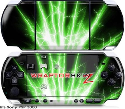 Sony PSP 3000 Decal Style Skin - Lightning Green (OEM - Green Faceplate Oem