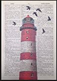 Parksmoonprints Décoration murale vintage représentant un phare rouge sur une page de dictionnaire