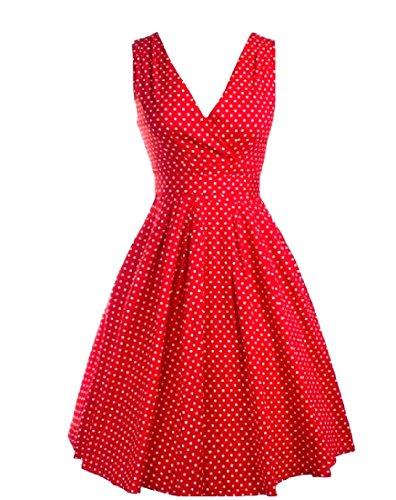Coolred-femmes 50 Taille Empire Vingtage Hepburn Accepter La Taille Rouge Robe De Soirée