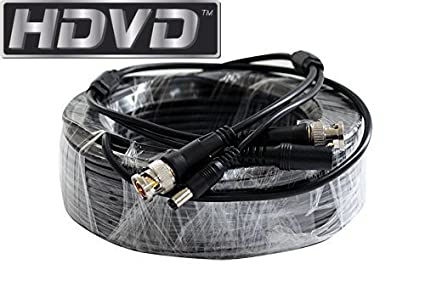 HDVD Premade 1 x 50 feet Siamese CCTV Coaxial Cable RG59 Combo Cable for Connecting HD