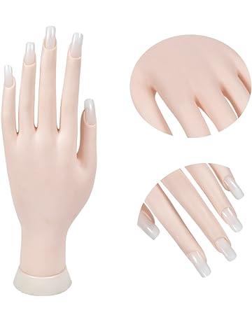 Manicura Práctica Manecillas & dedos Uñas Modelo Flexible Movable Mano de Plástico Suave para Arte de