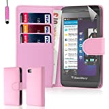 32nd® Book wallet PU leather case cover for Blackberry Z10 + screen protector, cleaning cloth and touch stylus - Baby Pink