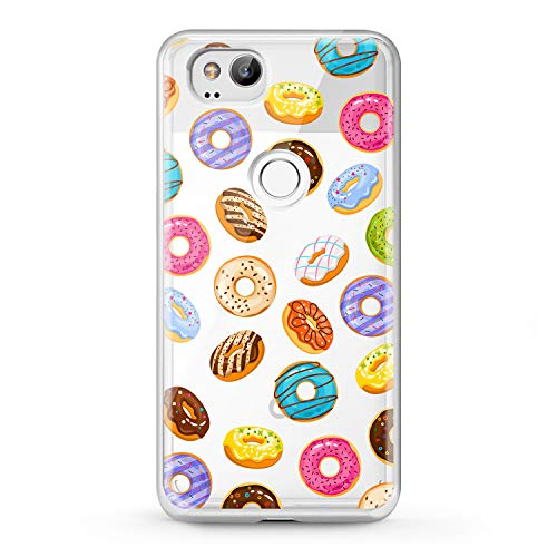 Lex Altern TPU Case Google Pixel 2 3 XL 2016 Clear Sweet Doughnut Smooth Phone Tasty Cute Cover Pink Print Simple Pattern Protective Design Women Soft Silicone Donuts Transparent Flexible -