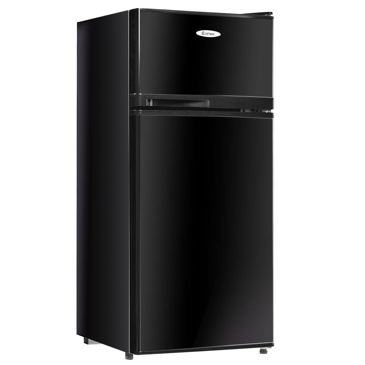 Costway 3.4 cu. ft. 2 Door Compact Mini Refrigerator Freezer Cooler, Black