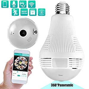 Lenyes Light Bulb Camera 960P Security Hidden with Night Visions Motion Detection HD 360 Panoramic Security System Camera,1.3MP
