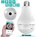 Lenyes Light Bulb Camera 960P Security Hidden with Night Visions Motion Detection HD 360 Panoramic Security System Camera,1.3MP(White)